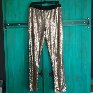 Sequin cropped pants